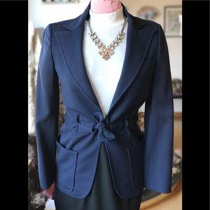 Beautiful Vintage Navy Blue Waist Tie Coat